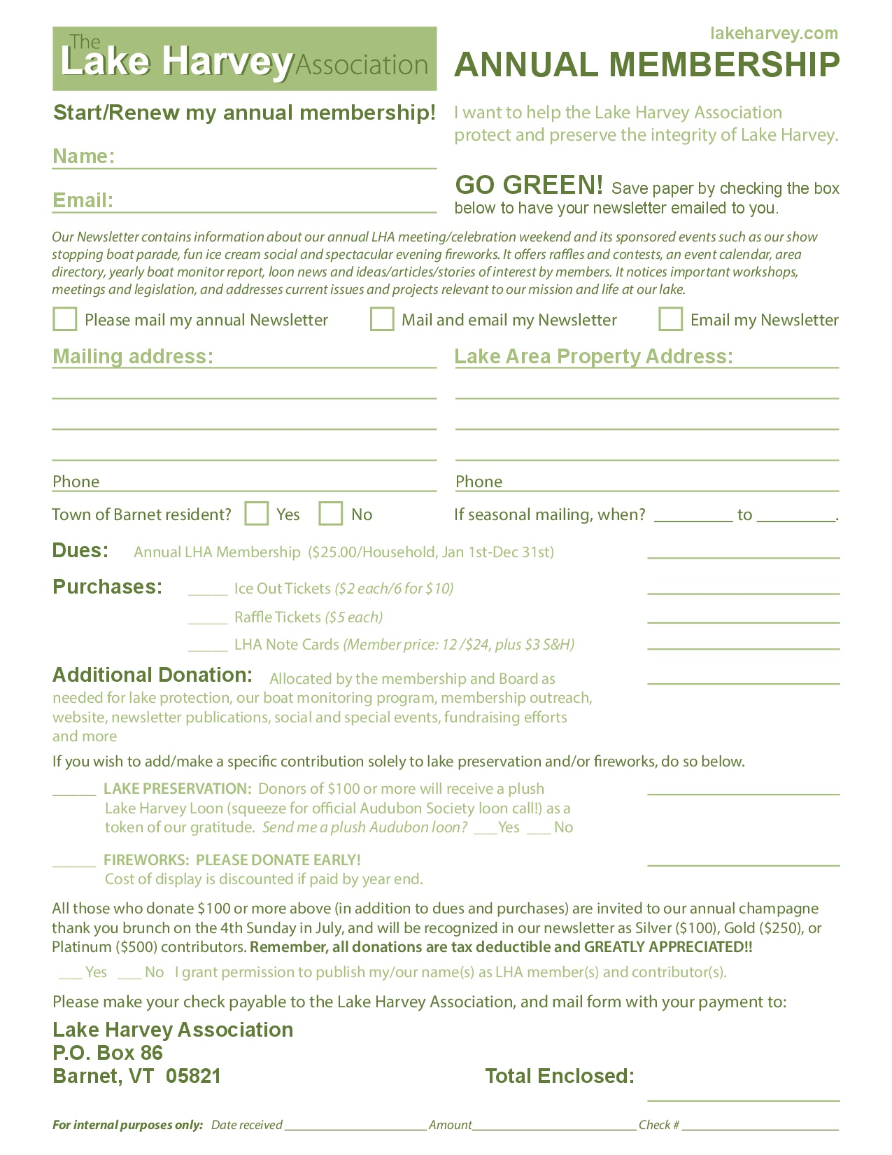 Lake Harvey Member Ship Form