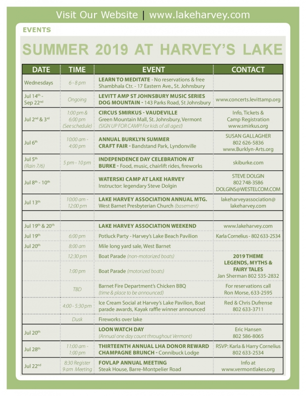 Lake Harvey Calendar 2018